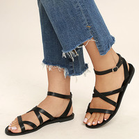 Sonata Black Ankle Strap Flat Sandals