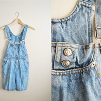 Over Under - Vintage Denim Jean Overalls Summer Shorts