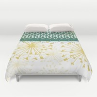 Boho dandelion green and yellow Duvet Cover by Jennifer Rizzo Design Company