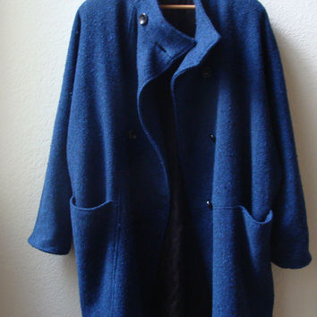 Vintage Tweed Oversize Drop Shoulder Pea Coat Cocoon Jacket