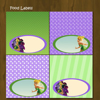 Tinkerbell Printable Food Labels - Tinkerbell Food Labels Purple and Green - INSTANT DOWNLOAD