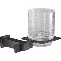 Black Wall Crackled Glass Toothbrush Toothpaste Holder Bath Tumbler, Solid Brass
