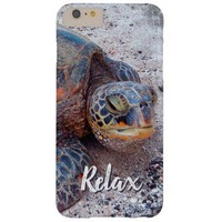 """""""Relax"""" Quote Fun Hawaii Sea Turtle Close-up Photo Barely There iPhone 6 Plus Case"""