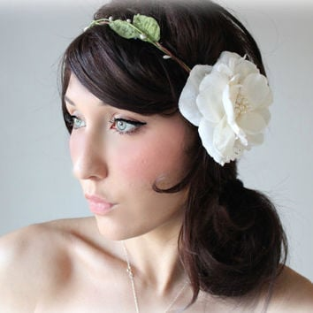 Bridal Flower Crown Whimsical Headband Lace & Pearls by deLoop