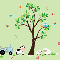 "Farm Wall Decals, Country Animal Farm Decals, Sheep Decal, Cow Decal, Tractor Decal, Farm Animal Stickers, Nature Wall Decals - 100"" x 95"""