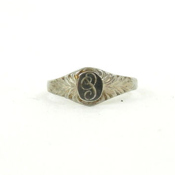 Antique Baby Ring 10K Gold Infant Initial Jewelry