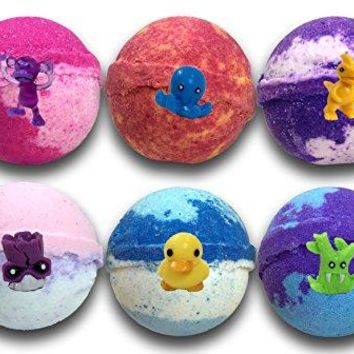 Kids Bath Bombs Gift Set W/ Surprise Toys, 6-5oz XL Bath Fizzies , Kid Safe , Gender Neutral , organic, bath bombs for kids , Made In USA