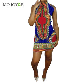 Vintage Traditional African Print Women Dress Sleeveless Dashiki Bodycon Dress O-Neck Vestidos Dress Vestido de festa SN9