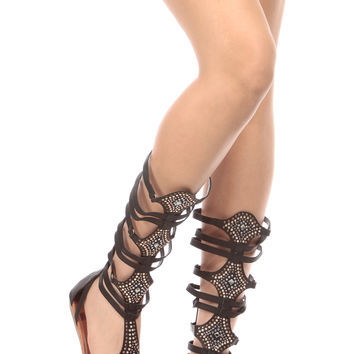 Black Faux Leather Embellished Gladiator Sandals