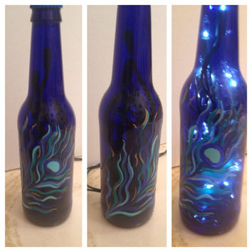 PEACOCK FEATHER hand-painted bottle lamp FREE shipping