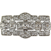 Outstanding Art Deco platinum, silver and over 1.10 ctw diamond filigree brooch, French hallmarked pin