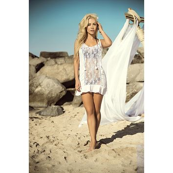 White Sheer Lace Front Panel Cover Up Beach Dress