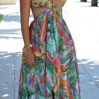 Boho Halter Neck Print Beach Dress  11708