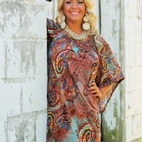 Dream Catching Brown Paisley Print Dress