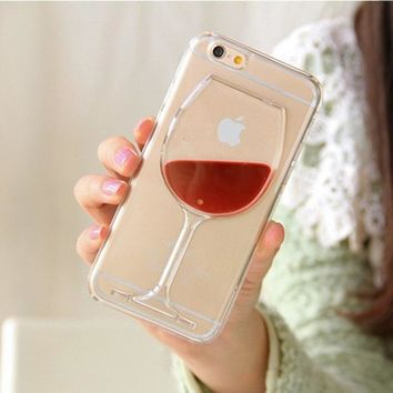 3D Hot Red Wine Glass Liquid Quicksand Phone Case For iPhone 6 6S 7 8 7Plus 5 5S SE Hard Back Cover Transparent
