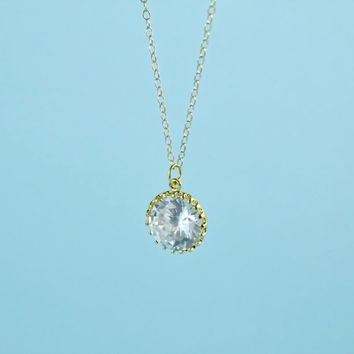 Beautiful CZ Pendant Necklace, Gold Plated Brass,  Cubic Zirconia, Delicate Chain, Everyday Wear, Perfect Gift