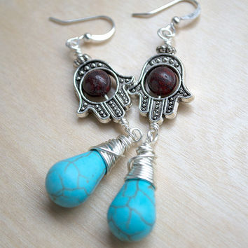 Hamsa Hand Earrings, Breciatted Jasper Earrings, Turquoise Earrings, Boho Fashion, Fatima Hand, Hippie Jewelry, Bohemian Earrings, Summer
