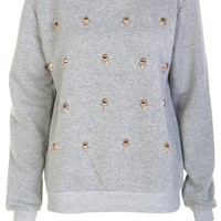 Embellish Skulls Sweatshirt / Grey - Womens Clothing Sale, Womens Fashion, Cheap Clothes Online | Miss Rebel