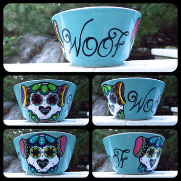 Hand Painted Sugar Skull Dog Bowl