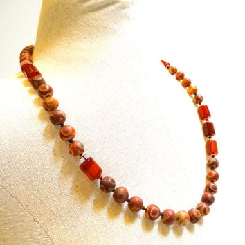 Autumn colors, Unique necklace of rich red/brown etched Tibetan Dzi beads accented by Carnellian and African copper,Bohemian Chic