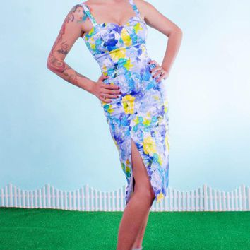 Blue Floral Water Color Pinup Wiggle Dress