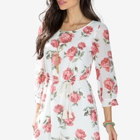 Pretty Rose Shift Dress W/ Tie