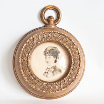 Vintage Pocket Watch Shaped Picture Frame with Victorian Woman, Godeys Fashion Print, Steampunk Decor
