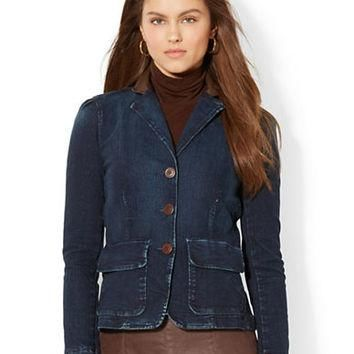 Lauren Ralph Lauren Leather Trim Denim Jacket