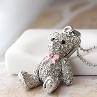 Lovely Teddy Bear Pendant Necklace Silver Plated with Crystal