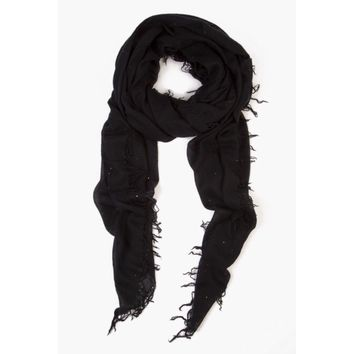 Chan Luu Cashmere Scarf ~ Black Scattered Sequins