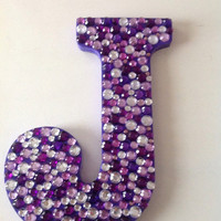 Customizable Rhinestone Wooden Letter, hanging wall decor