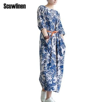 SCUWLINEN Vestidos 2018 Women Summer Dress Plus Size Loose Casual Vintage Printed Half-sleeve Linen Dress Long Party Dresses S04