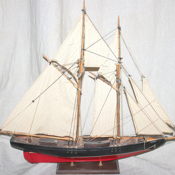 Mid Century Folk Art Boat / 1921 Bluenose Model Ship