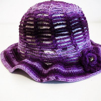 Verigated purple ombre sun hat with flower and bead woman's or teen/tween