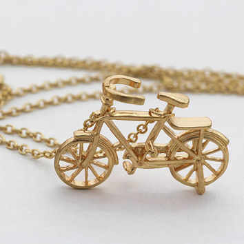 Long Layering Necklace, Gold Bike Necklace, Gold Bicycle Necklace, Personalized Bridesmaids Jewelry, Friendship Graduation Gift, Trending