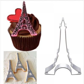 New Stainless Steel Cookie Cutters Eiffel Tower Sushi Biscuit Cake Fruit Vegetable Mold Mould Free Shipping