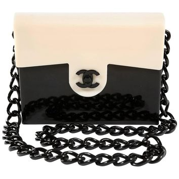 Chanel Black and Cream Bakelite Small Shoulder Bag