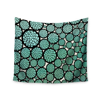 "Pom Graphic Design ""Blooming Trees"" Turquoise Circles Wall Tapestry"