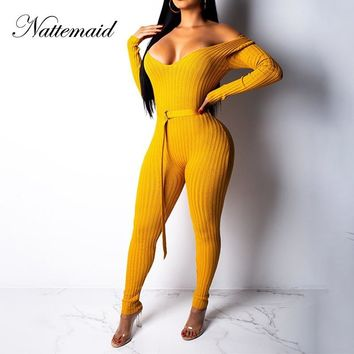 NATTEMAID Long Sleeve Sweater Knitted Jumpsuit Rompers Womens Jumpsuits For Women 2018 Off Shoulder Sexy Bodycon Winter Jumpsuit