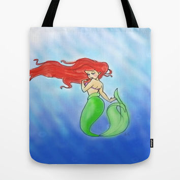 Ariel- The Little Mermaid Tote Bag by Sierra Christy Art
