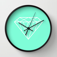 Tiffany Mint Diamond Design Wall Clock by RexLambo | Society6