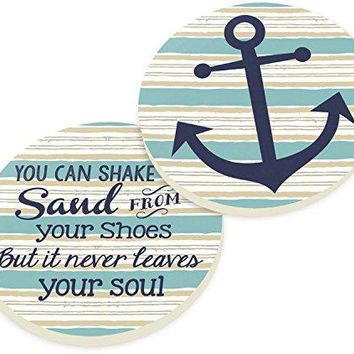 Sand In Your Soul Anchors Sailing 2 Piece Ceramic Car Coasters Set