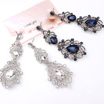 Women Fashion Retro Ornaments Metal Rhinestones Gem Water Droplets Pendant Earring