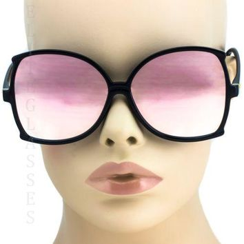 NEW Large Oversized Square Sunglasses Pink Mirror Retro butterfly Black Frame