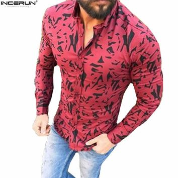 INCERUN Long Sleeve Camouflage Print Button Shirts Men Fashion Slim Fit Male Tops Camisa Masculina Plus Size Casual Cotton Shirt