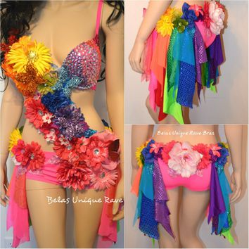 Pink Rainbow Fairy Monokini Costume Dance Rave Bra Halloween Burlesque Show Girl