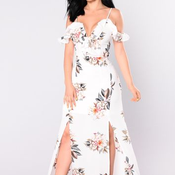 Japanese Garden Floral Dress   White
