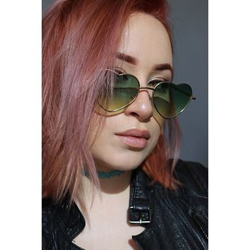 Heart Shaped Ombré Sunglasses in Pink or Green