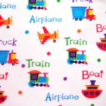 Plane Train Truck Boat Transportation Cotton Fabric 1/2 yard units - Playful Prints - Sewing Quilting - White Bright Colors Destash