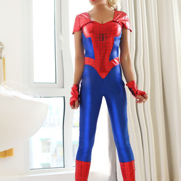 Cap Sleeve Jumpsuit Spider Woman Costume